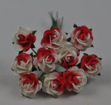 RED WHITE ROSES (1.2cm) Mulberry Paper Roses